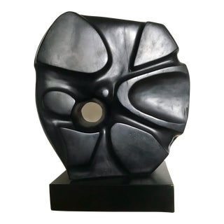 Abstract Solid Wood Large Black Modernist Sculpture Signed and Dated For Sale