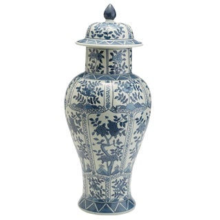 Blue & White Chrysanthemum Tall Temple Jar For Sale