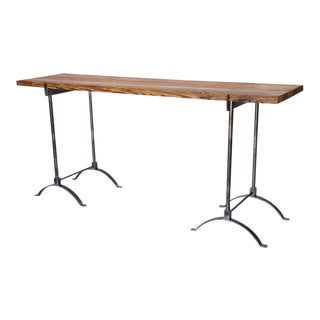 Industrial Iron and Reclaimed Wood Console Table For Sale
