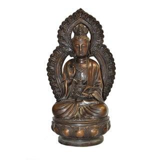 Antique Bronze Buddha Guan Yin Holding Ruyi For Sale