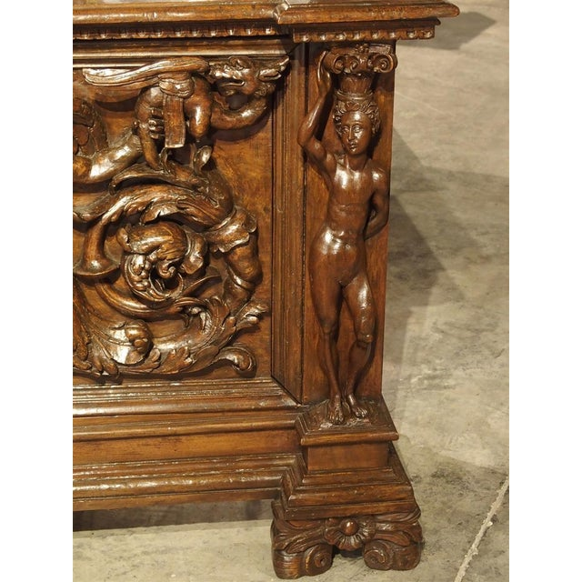 Antique Italian Walnut Wood Buffet / Credenza From Rome, 19th Century For Sale In Dallas - Image 6 of 13