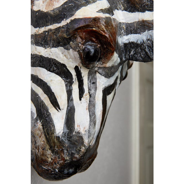 1990s Hand Painted Paper Mache Zebra Head For Sale - Image 5 of 13