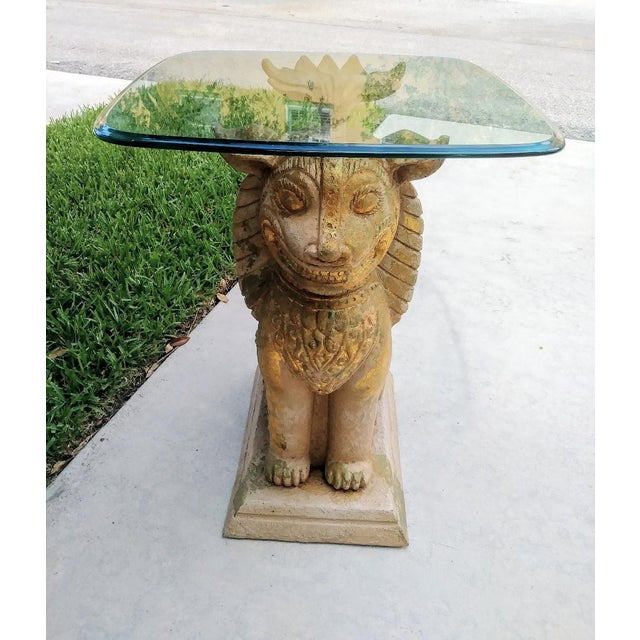 Gold Palm Beach Regency Monumental Lion Foo Dog Glass Top Side Table For Sale - Image 8 of 8