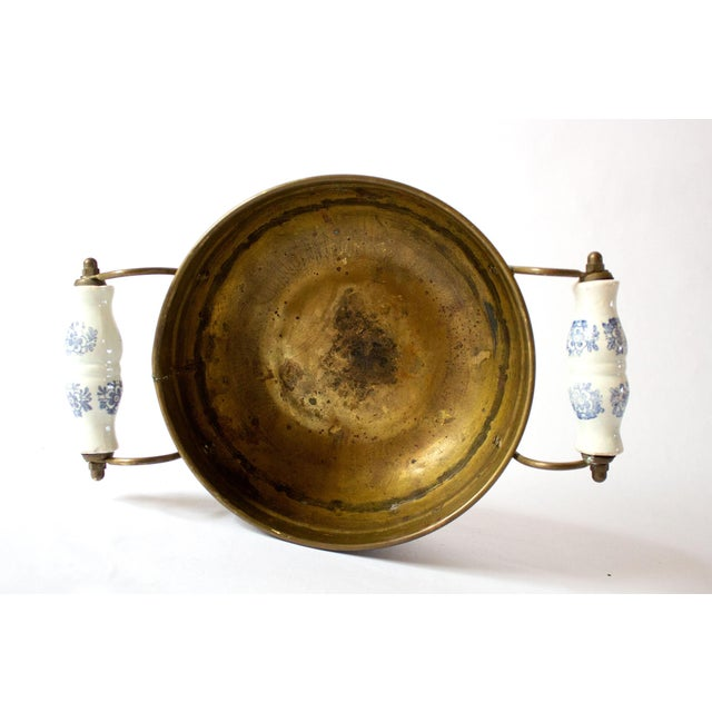 Mid 20th Century Vintage Mid Century Brass Bowl & Ceramic Handles For Sale - Image 5 of 7