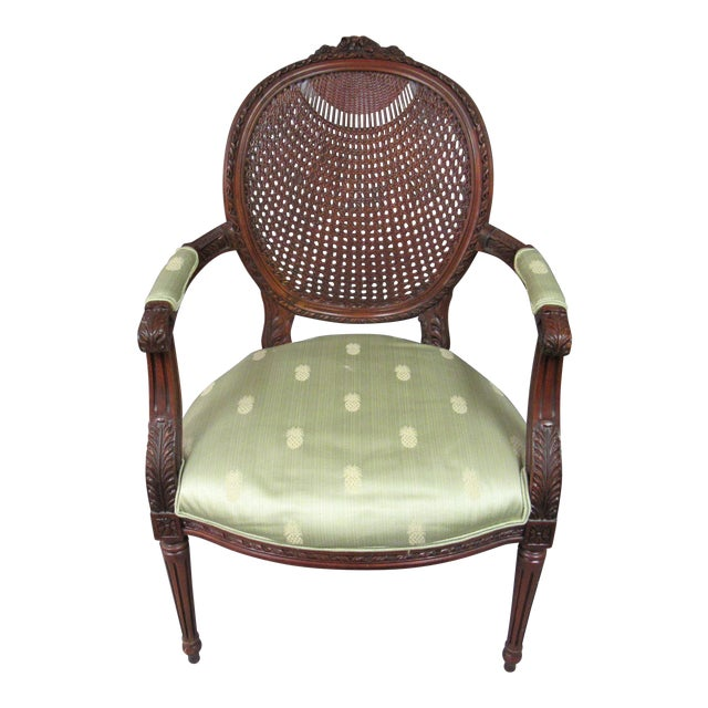 Vintage Fairfield Louis XVI Style French Upholstered Cane Back Bergere Chair For Sale