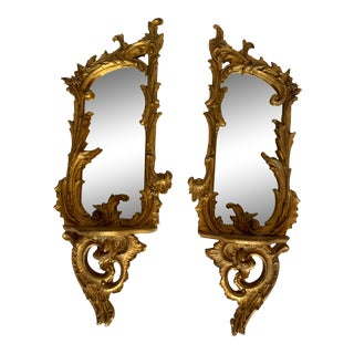 Italian Carved and Giltwood Mirrors With Shelf - a Pair For Sale