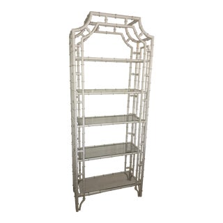 1970s Vintage Faux Bamboo Etagere For Sale