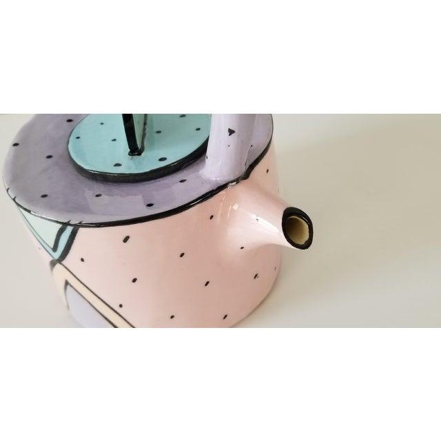 Pink 1980's Vintage Postmodern Hand Painted Sculptural Ceramic Pitcher, Signed For Sale - Image 8 of 9
