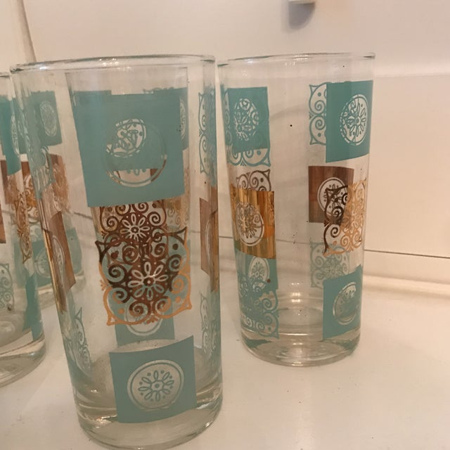 Vintage Mid-Century Aqua and Gold Cocktail Glasses - Set of 6 For Sale In Sacramento - Image 6 of 7