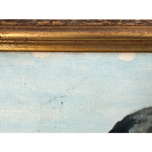 Paint Framed Oil on Board ofSeaside Village With Boats, Signed Jh For Sale - Image 7 of 11
