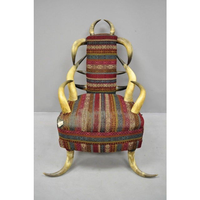 Early 20th Century Antique Upholstered Steer Horn Parlor Chair For Sale - Image 10 of 10