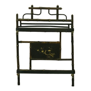 19th Century French Faux Bamboo Wood and Lacquer Shelf For Sale