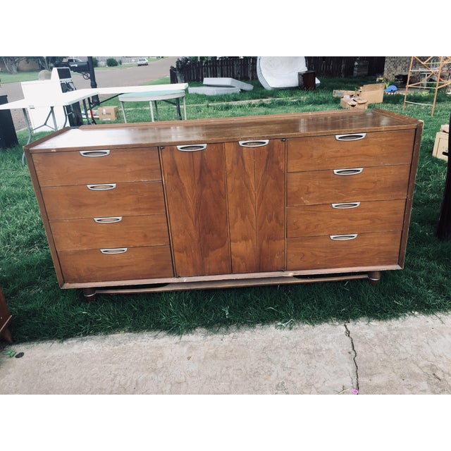 Nice drawers. Cigar legs solid wood with original mirror both mirror and credenza is in this sale