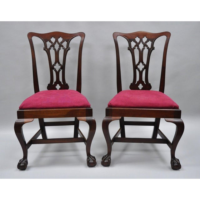 T. Robinson & Sons Makers Antique Solid Mahogany Chippendale Style Side Chairs - a Pair For Sale - Image 13 of 13