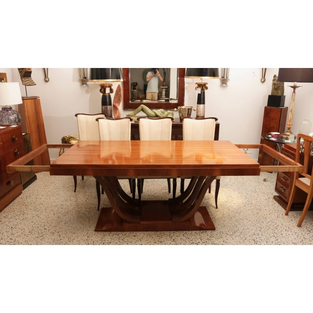 French Art Deco Mahogany Rectangular Extension Dining Table