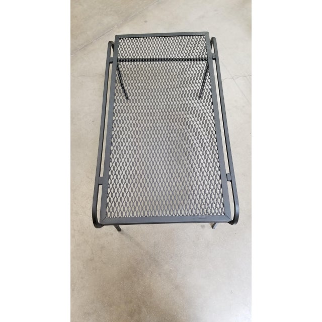 """Woodard Furniture Co. Iron and Mesh Low Outdoor/Patio """"U"""" Leg Coffee Table by Woodard For Sale - Image 4 of 5"""