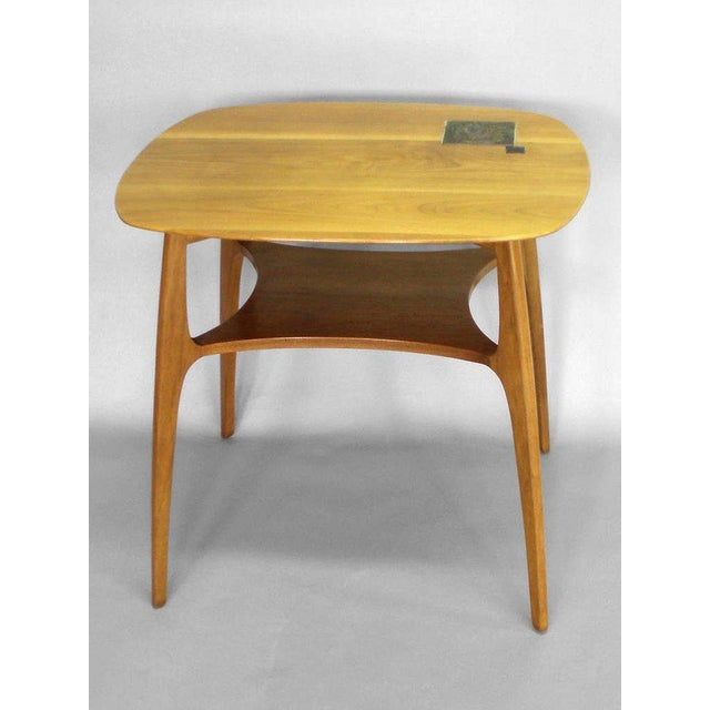 Dunbar Furniture Edward Wormley for Dunbar Occasional Table With Tiffany Tile For Sale - Image 4 of 7