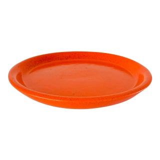 Vintage Mid Century Gainey Ceramics Speckled Orange Pot Planter Drip Plate Saucer For Sale