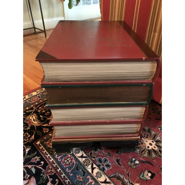 Stacked Classic Books Hand Painted Side Table/Chest For Sale - Image 4 of 10