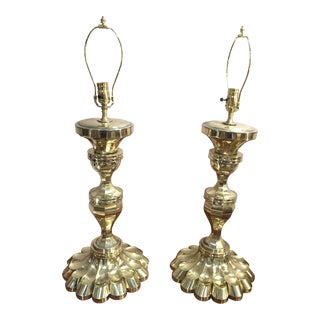 Vintage Petal Base Brass Lamps - a Pair