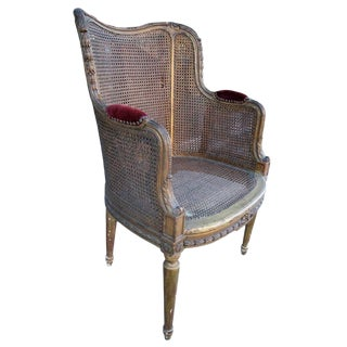 19th Century French Double Caning Gilded Chair For Sale