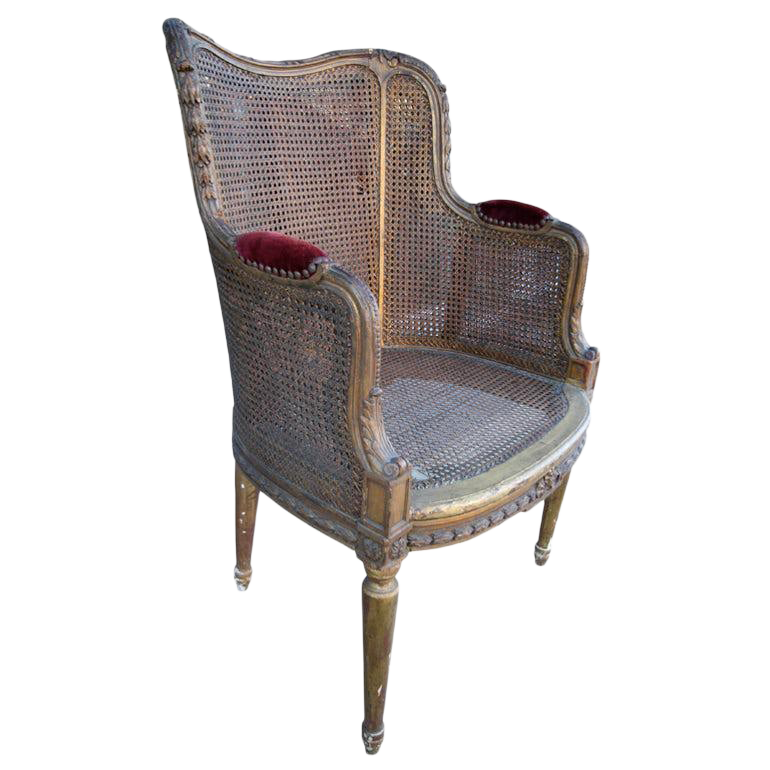 Bon 19th Century French Double Caning Gilded Chair