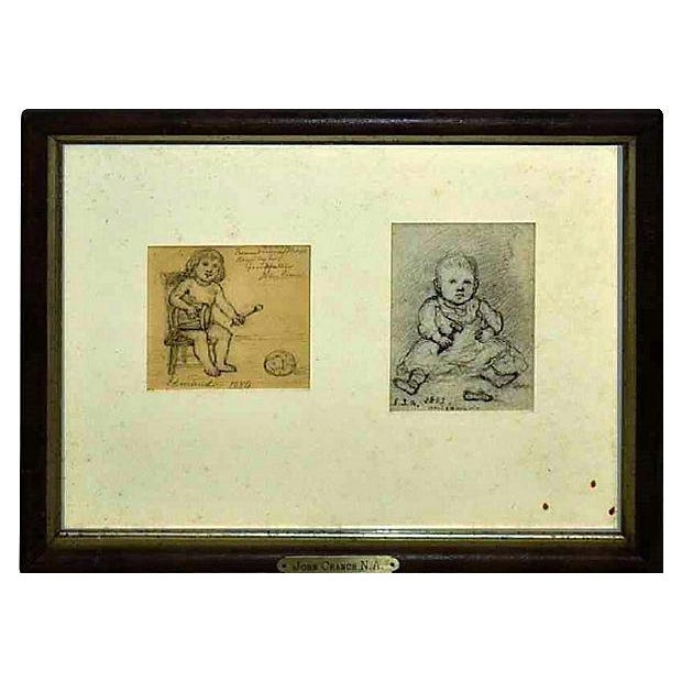 Pencil on paper drawings of two children by John Cranch (1807-1891). Cranch was an American painter and print collector....