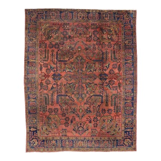 "1910's Antique Persian Mahal Area Rug - 10'6"" X 13'6"""
