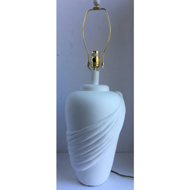 1980s Hollywood Regency John Dickinson Style Draped Plaster Table Lamp For Sale - Image 5 of 6
