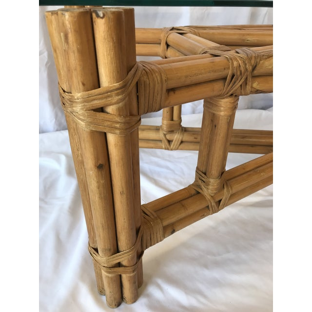Wood Boho Chic X Design Rattan Coffee Table For Sale - Image 7 of 9