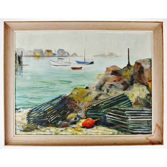 Vintage Framed Original Nautical Oil on Canvas Painting Lobster Traps - Artist Signed For Sale - Image 10 of 12