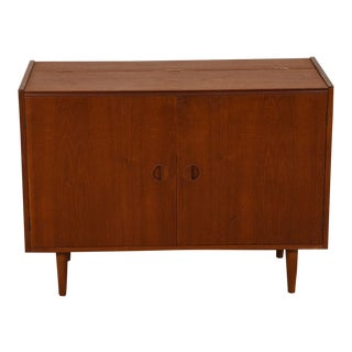 Danish Modern Media / Vinyl / Storage Cabinet with Easy Access in Teak
