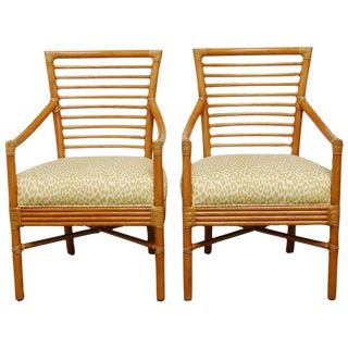 Bamboo Armchairs by Christopher Roy for McGuire For Sale
