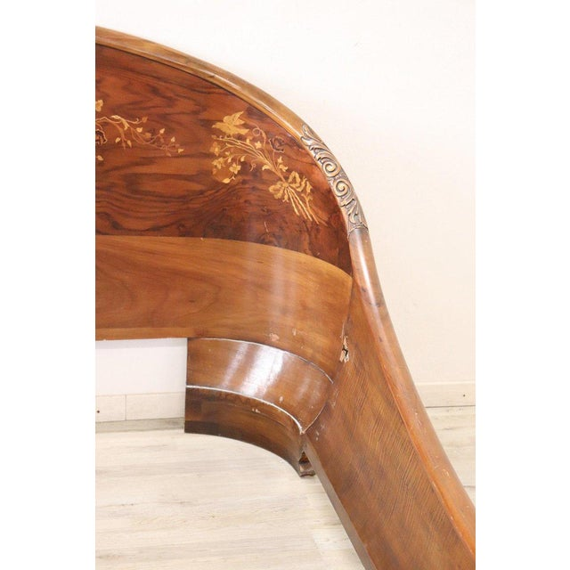 1920s 20th Century Italian Design Art Deco Inlaid Wood Double Bed For Sale - Image 5 of 12