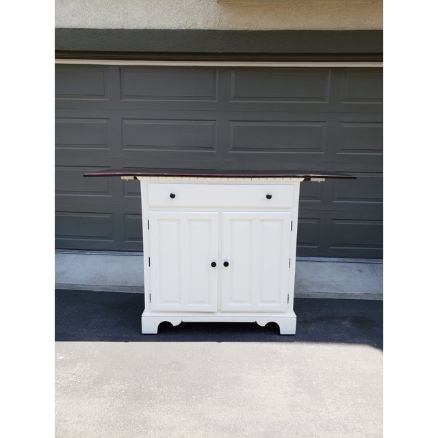 Vintage Country White Buffet/Bar For Sale - Image 4 of 7