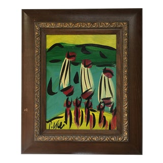 """Abstract Painting, """"Boats"""" by Peter Keil - Framed For Sale"""