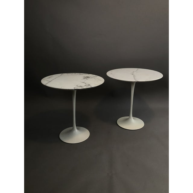 """Pair of Vintage Round Saarinen Side Tables. with 20"""" diameter Calacatta Gold Solid Marble tops."""