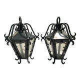 Image of Vintage Wrought Iron Lanterns With Seed Glass Panels For Sale