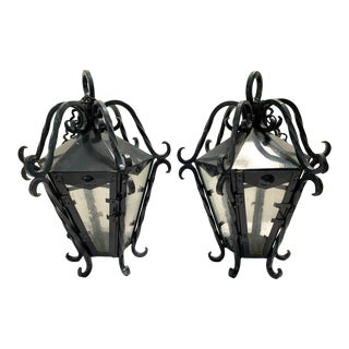 Vintage Wrought Iron Lanterns With Seed Glass Panels For Sale