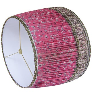 Rose Red/Green Silk Sari Gathered Lamp Shade Preview