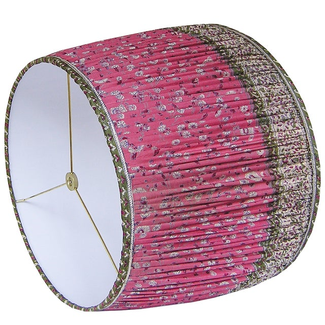 DETAILS: - New, handcrafted, gathered lamp shade - Fabric: Vintage, 100% silk sari. Colors include rose red, green, ivory...