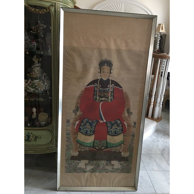 Early 20th Century Antique Chinese Ancestral Watercolor Portrait on Paper Painting For Sale - Image 11 of 11