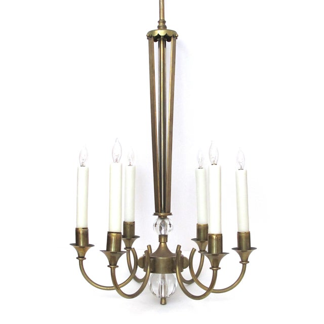1950s A Good Quality and Stylish French Mid-Century Brass 6-Arm Chandelier Fitted With Glass Orbs For Sale - Image 5 of 5
