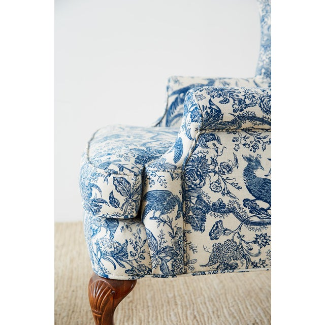 Chinoiserie Upholstered Queen Anne Wingback With Ottoman For Sale - Image 11 of 13
