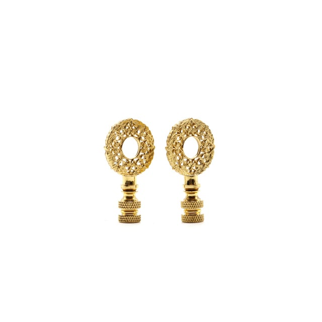 Hollywood Regency Brass Wreath Lamp Finials - a Pair For Sale - Image 3 of 5