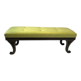 Regency Style Bench in Chartreuse Leather For Sale