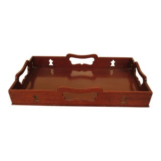 Virginia Metalcrafters Colonial Williamsburg Mahogany Tray For Sale