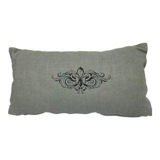 Fluer-De-Lis Embroidered Linen Pillow For Sale