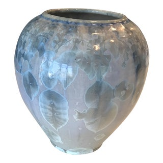 Vintage Abstract Crystalline Blue and Gray Pottery Vase For Sale