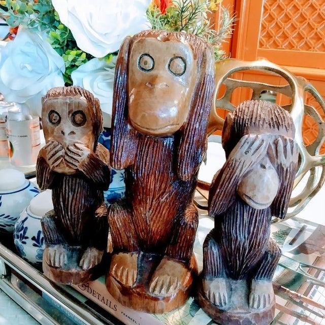 1990s Primitive See No Evil, Hear No Evil, Speak No Evil Wooden Monkey Statues - Set of 3 For Sale - Image 5 of 7